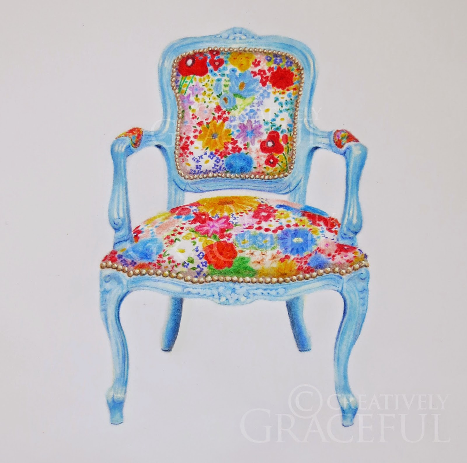 blue floral chair potty accessories creatively graceful drawing