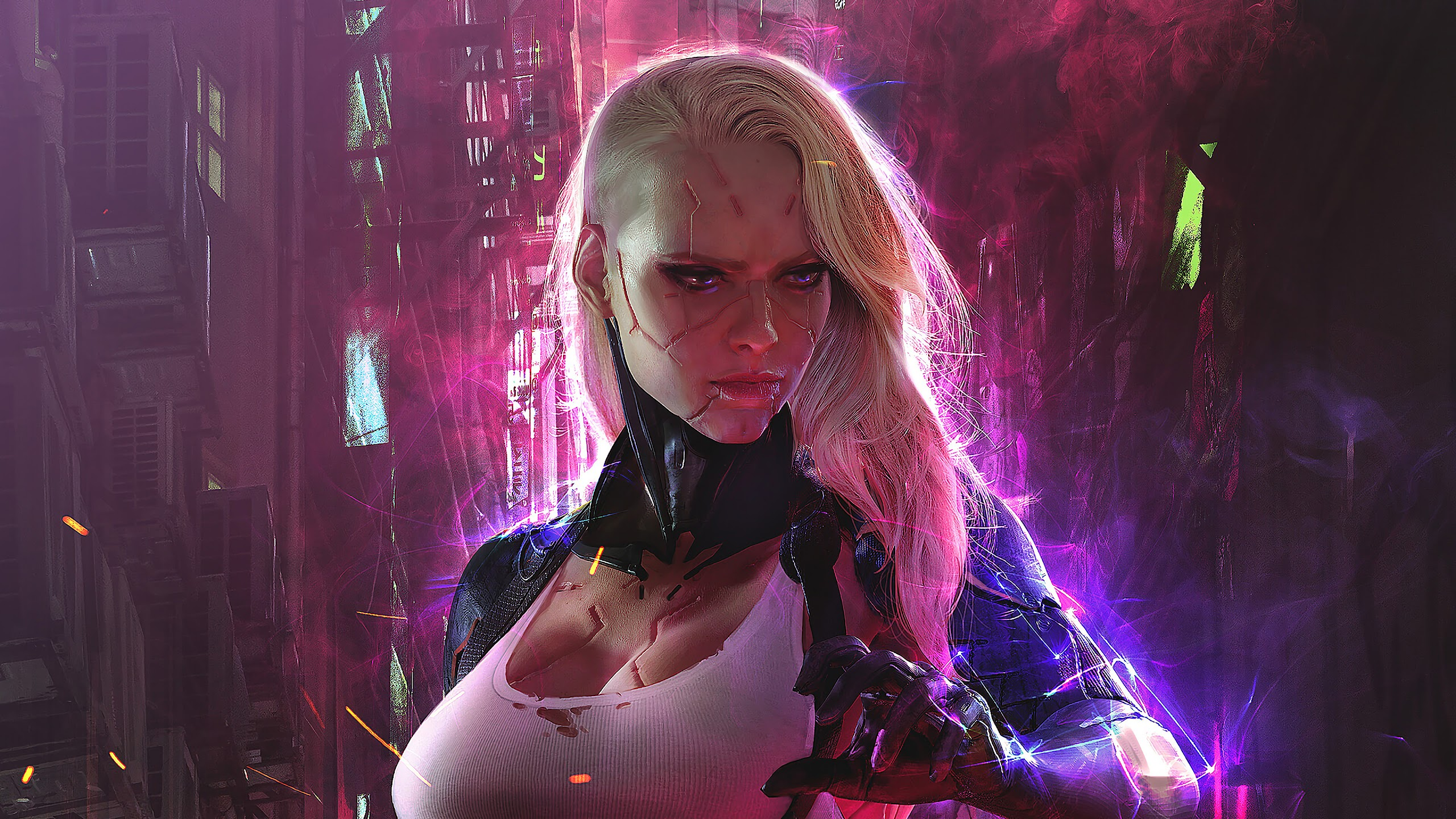 Encuentrele un nuevo cuerpo a Zöe Cyberpunk-girl-sci-fi-uhdpaper.com-4K-144