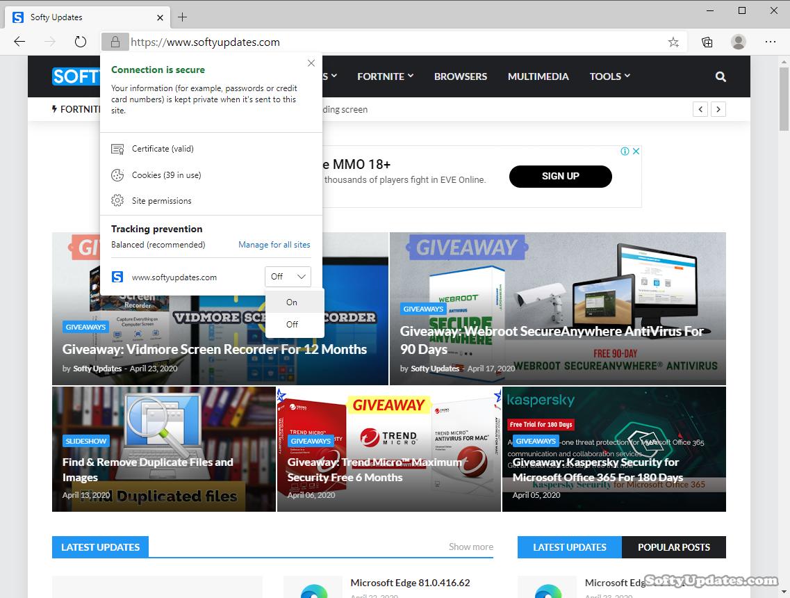 Microsoft Edge 81.0.416.68