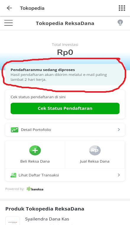 Cek Status Pendaftaran ReksaDana di Tokopedia.