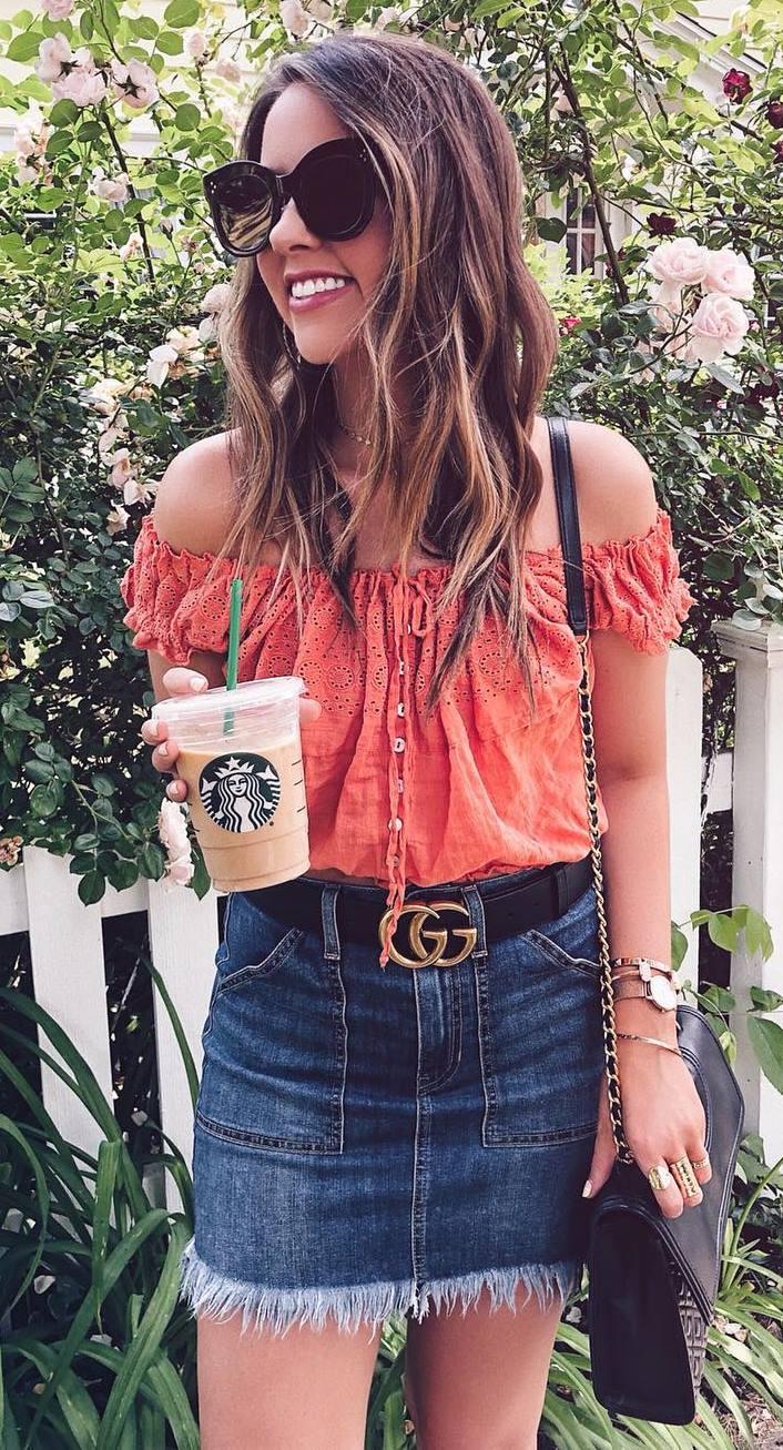 cute summer outfit / off shoulder top + bag + denim skirt