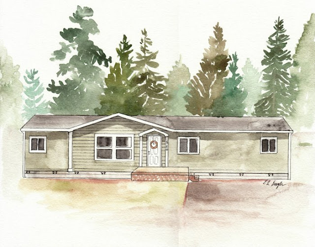 Custom Watercolor House Painting Illustration by Elise Engh