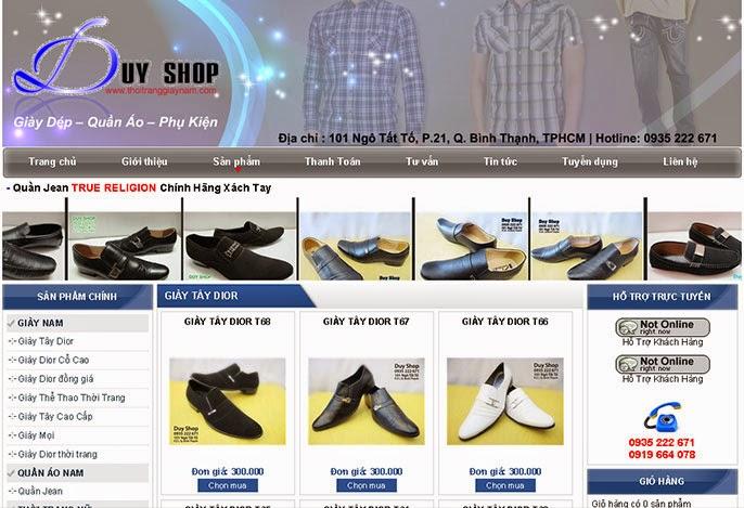 Thiết kế website bán hàng giầy dép đẹp
