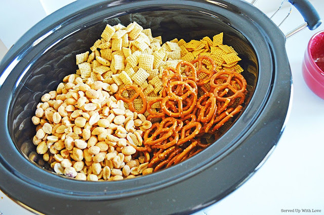 Chex Mix made in the crock pot from Served Up With Love