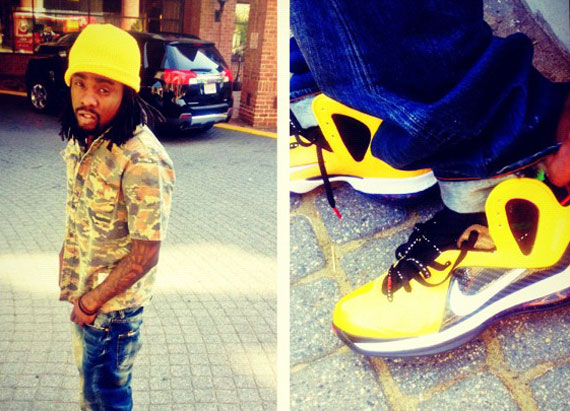 TRS Blog  Celebrity Feet  Wale – Nike LeBron 9 Elite  Varsity Maize  a580940b7