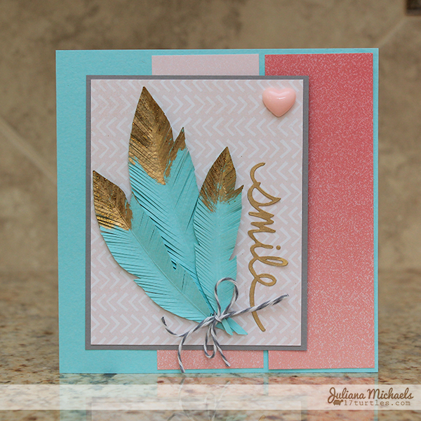 Gold Tipped Feathers Smile Card by Juliana Michaels
