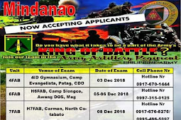 APQUE Schedule for Army Artillery Regiment CS Applicants (Mindanao)