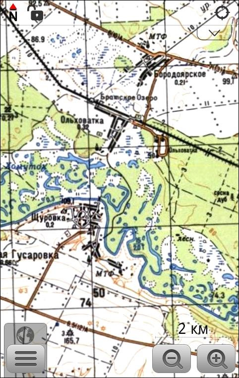 Топографическая карта на экране программы OsmAnd