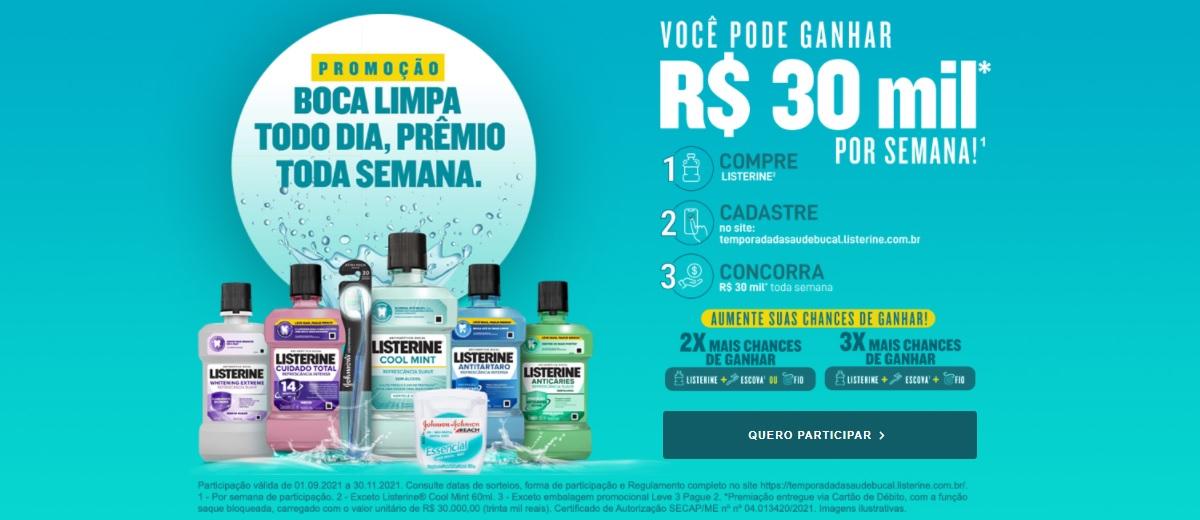Promoção Listerine 2021 Boca Limpa Todo Dia Prêmio 30 Mil Toda Semana