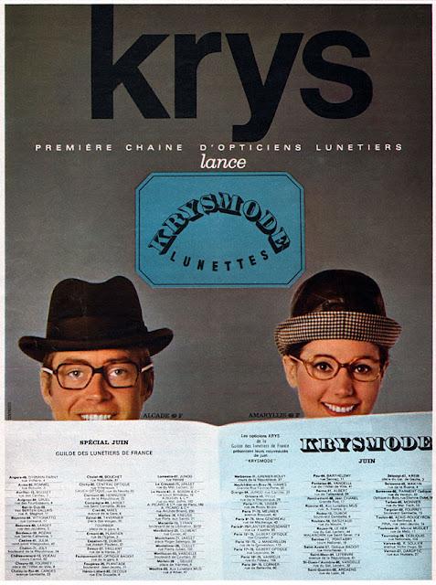 Publicité Krys opticiens 1968 - Blog beauté Les Mousquetettes