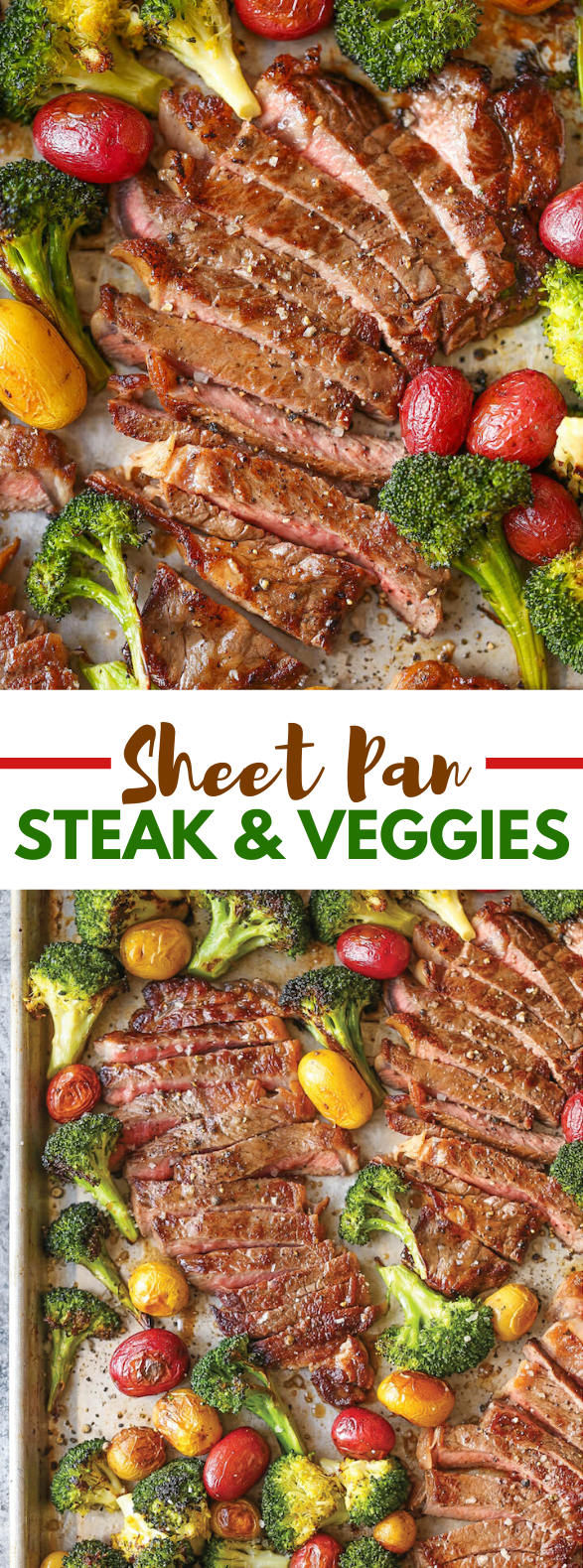 SHEET PAN STEAK AND VEGGIES #dinner #cleaneating