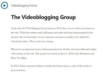 Orginal Yahoo Videoblogging Group Home Page