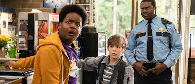 Keith L. Williams, Jacob Tremblay, and Sam Richardson in a movie still for Universal's 2019 coming-of-age comedy Good Boys, directed by Gene Stupnitsky