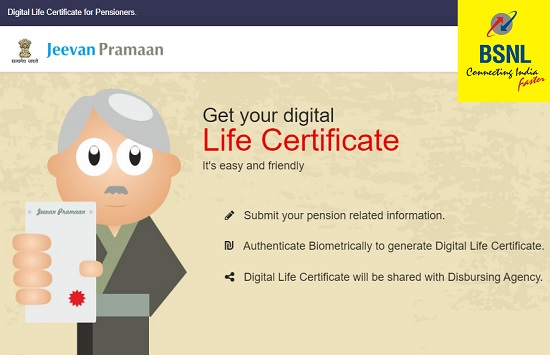 DOT/BSNL pensioners can submit Digital Life Certificate (Jeevan Pramaan) through BSNL Customer Service Centers : Check list of approved BSNL CSCs