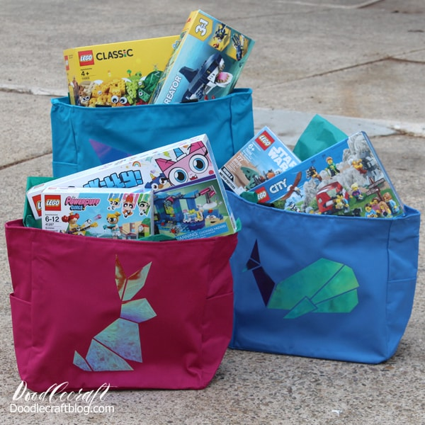 Make an adorable Easter basket alternative with holographic iron on vinyl and totes.