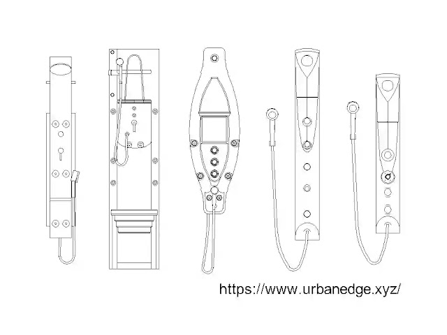 Shower panels cad blocks download, 5 Shower Panels dwg drawing