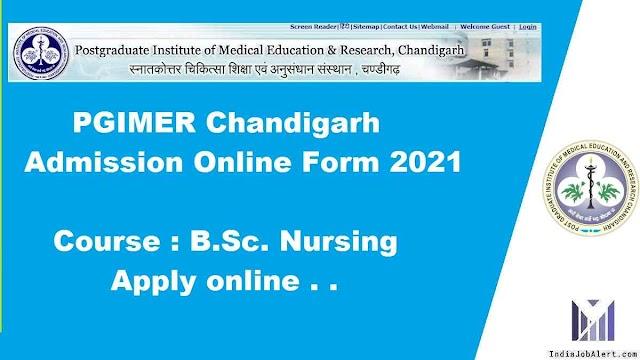 PGIMER Chandigarh Admission Online Form 2021