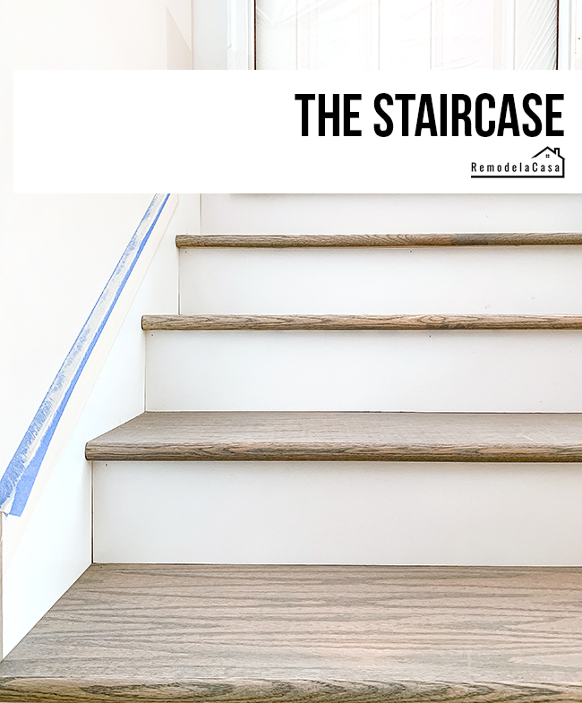red oak treads and white risers staircase install