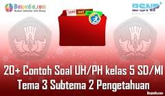 Lengkap - 20+ Contoh Soal UH / PH untuk kelas 5 SD/MI Tema 3 Subtema 2 Pengetahuan