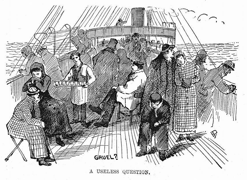 an 1876 cartoon about sea sickness