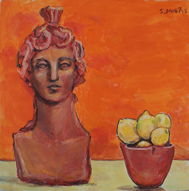 painting, sculpture, still-life, fruit, lemons, orange, red, vivid, intense, face, head, ceramics, terracotta, kunst, arte, art, pintura, modern, contemporary, acryllic, canvas, paint, summer, yellow, decor, deco, interior, design, artwork, sarah, myers, artist