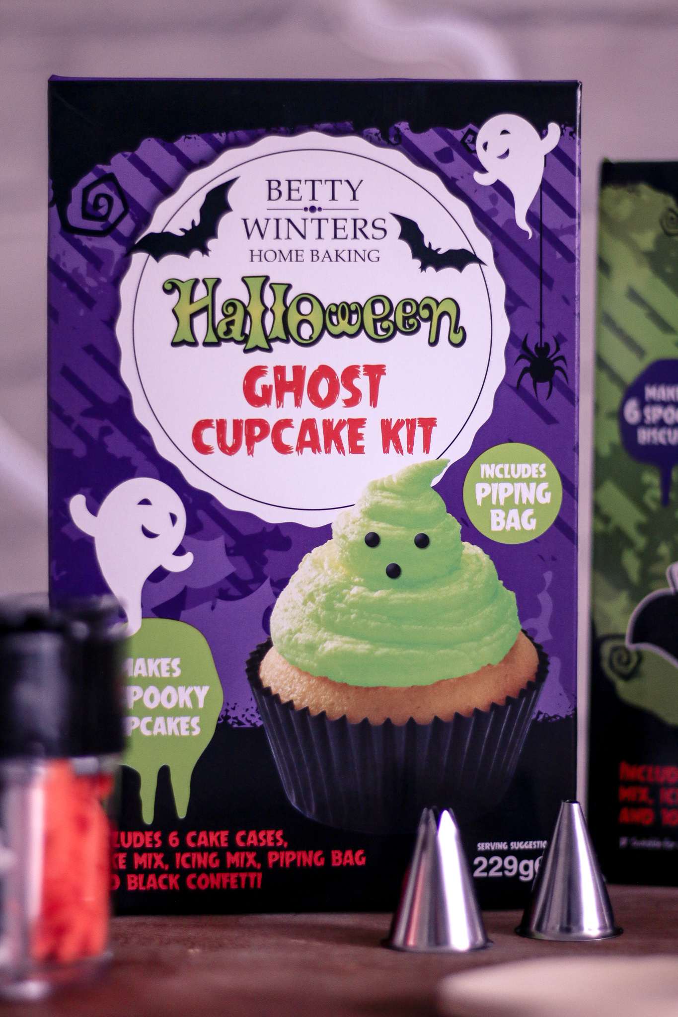 Close up photo of the Betty winters home baking Halloween Ghost Cupcakes kit