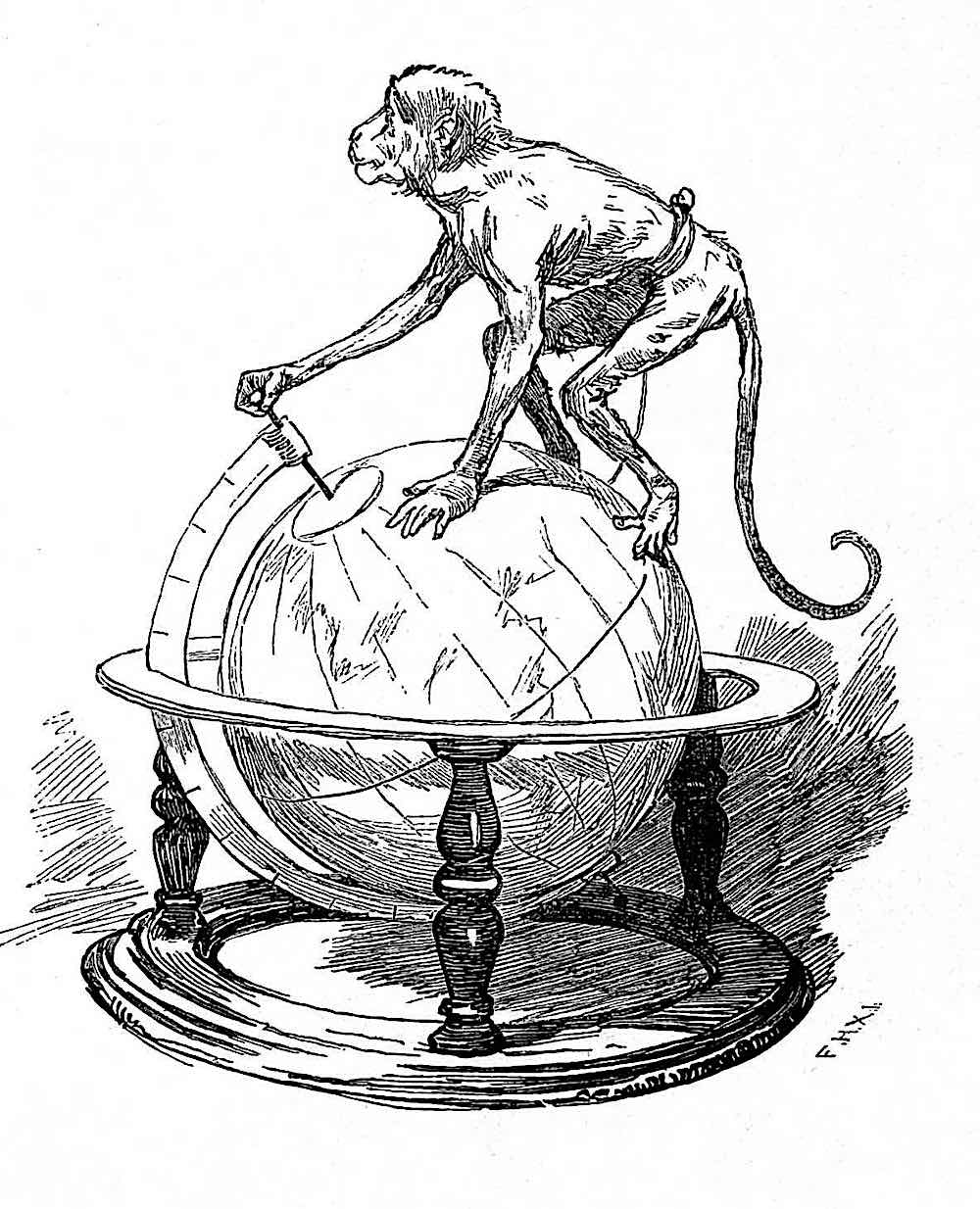 a Frederik Hendriksen 1896 illustration of a monkey on a globe