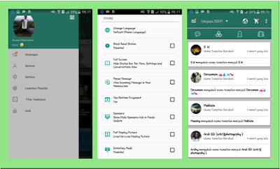 BBM DarkGreen Material Themes Full Features New V.2.13.1.14 APK