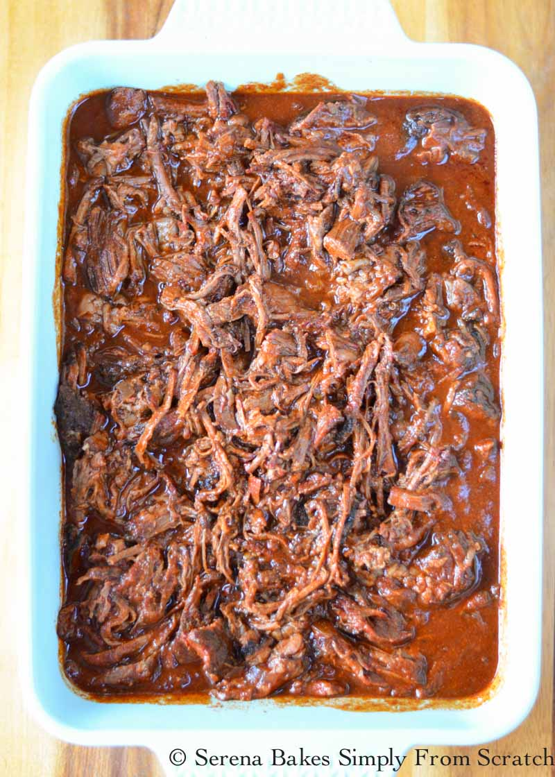 Smoked Pulled Beef Chuck Roast in Red Sauce.