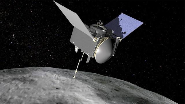 OSIRIS-REx no asteroide Bennu - ilustração