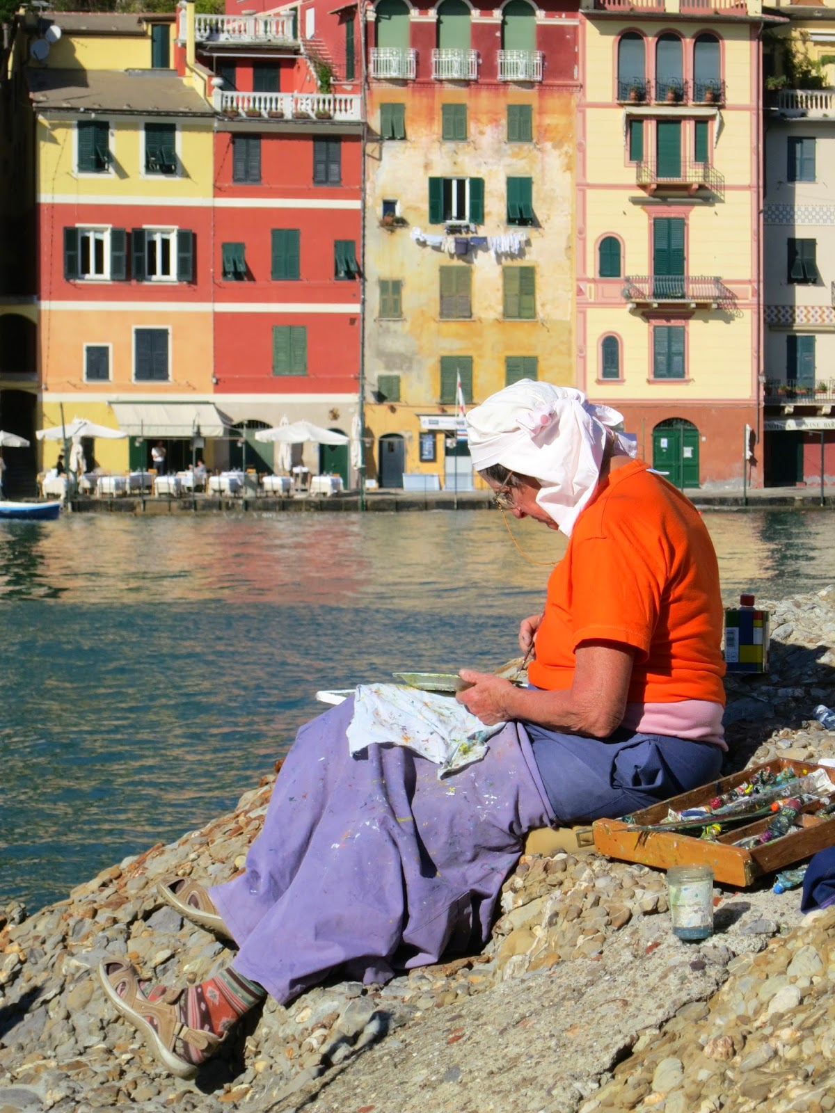 Local Artist Painting in Portofino Harbor