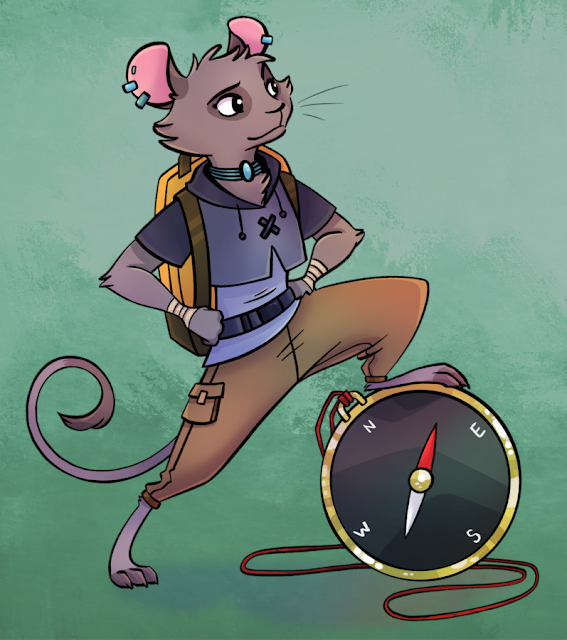 A mouse with piercings and a choker in casual clothes and a backpack with their foot resting on a compass