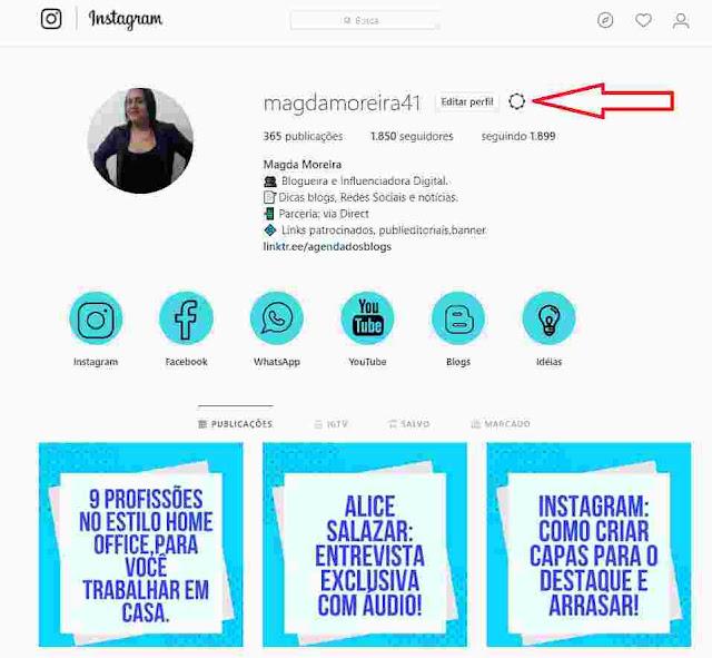 Perfil MagdaMoreira41 no Instagram