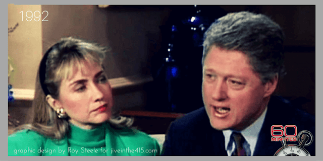 "Hillary Rodham Clinton and Arkansas Governor William J. Clinton on ""Sixty Minutes"" in January 1992."