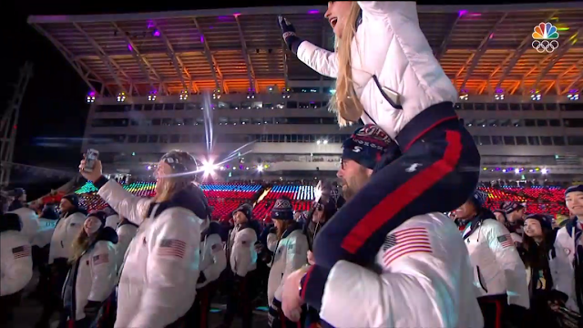 PyeongChang 2018 Winter Olympics Closing Ceremony Jessie Diggins riding on shoulders