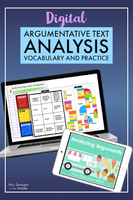 Digital Vocabulary and Practice Activities for Analyzing Argumentative Text with Middle School Students