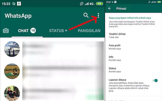 Menyembunyikan informasi WhatsApp