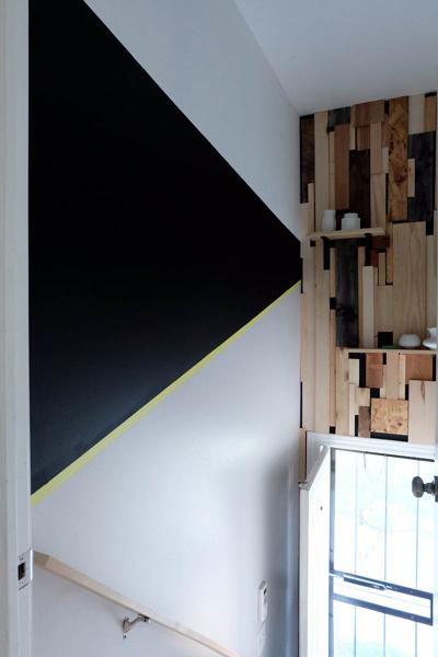 black paint segment on wall