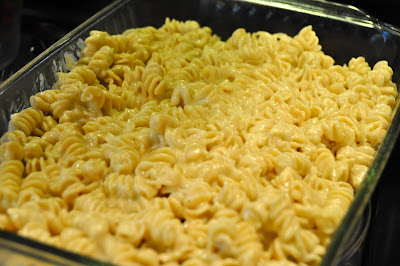 Triple cheese mac noodles in a pan
