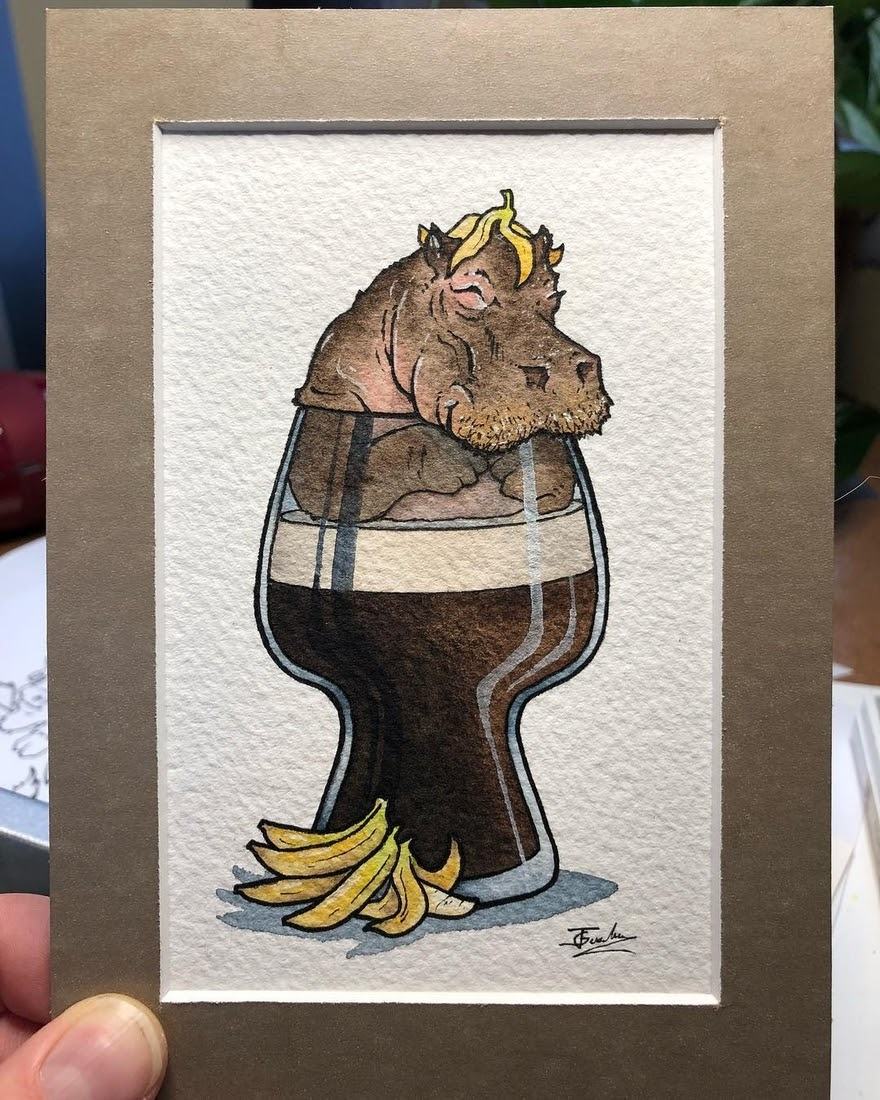 03-Banana-stout-Hippo-Jon-Guerdrum-Drawings-of-Surreal-Drinking-Visions-of-Animals-www-designstack-co