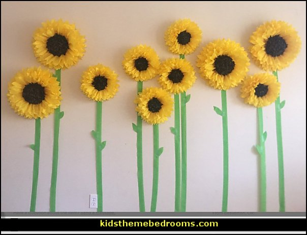 Paper sunflower field backdrop  bumble bee bedrooms - Bumble bee decor - Honey bee decor - decorating bumble bee home decor - Bumble Bee themed nursery - bee wallpaper mural decals - Honeycomb Stencil - hexagonal stencils - bees in springtime garden bedroom -  bee themed nursery - black yellow bedroom ideas - Hexagon pattern -