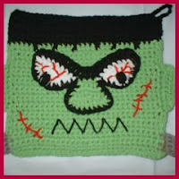 Agarradera crochet frankestein