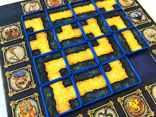 One of the game boards from Labyrinth: The Duel, set up and ready to play.