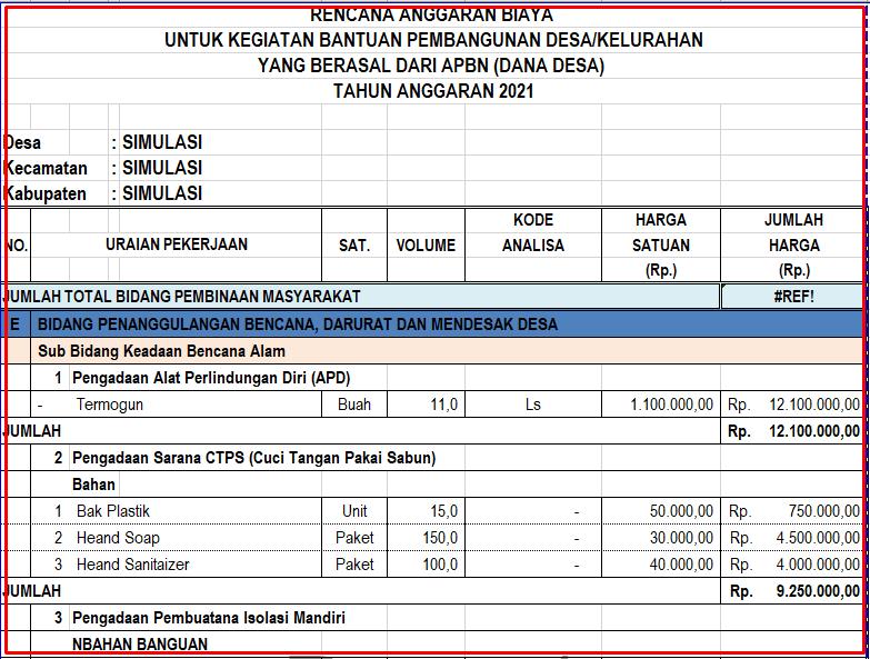 Download RAB Bantuan Langsung Tunai Desa  Download RAB Bantuan Langsung Tunai Desa (BLT) Covid-19 Tahun 2021
