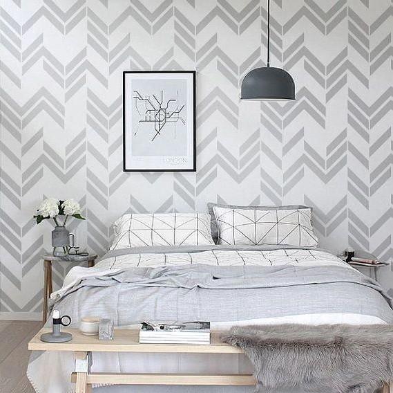 Motif Wallpaper Dinding Kamar Tidur Heringbone Mewah
