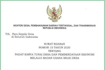 SE Menteri Desa Nomor 15 Tahun 2020 Tentang PKTD dan Pemberdayaan Ekonomi Melalui Bumdes