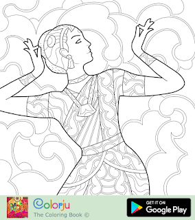 Free Indian girl traditional classical dancing coloring page