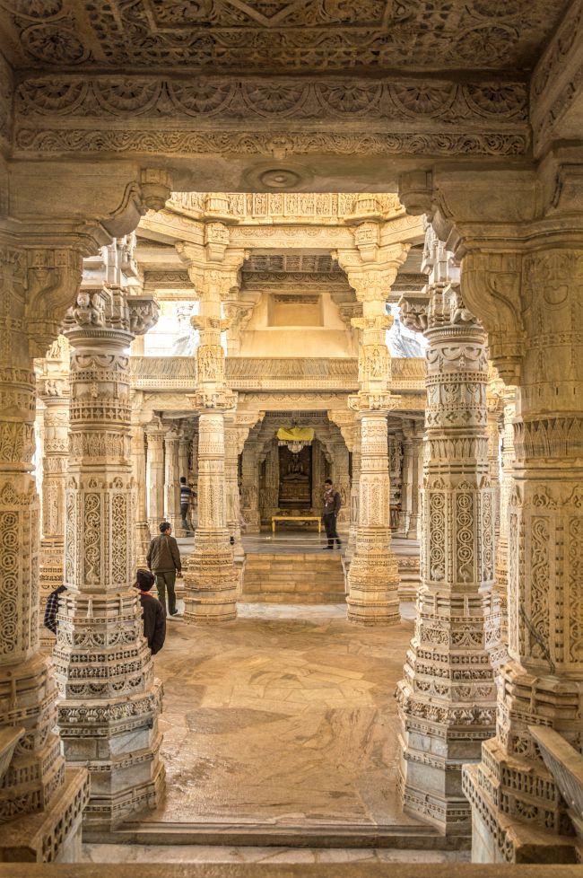 View of Bhagwan Adinath inside Garbhgriha from entrance