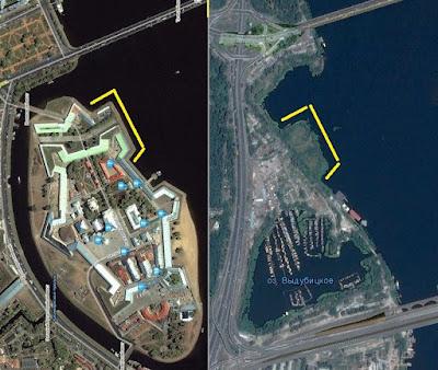 Совпадение очертаний берега Днепра и стены Петропавловской крепости