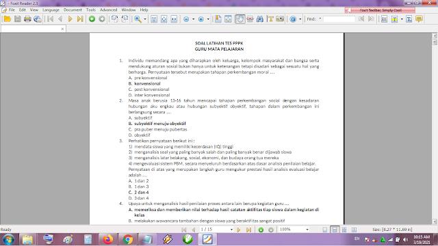 Kumpulan Contoh Soal Tes Seleksi Guru PPPK atau P3K Guru Mapel SMP Lengkap Kunci Jawaban